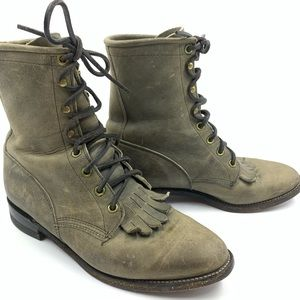 Justin Womens 7 Kiltie Full Ankle Lace Up Boots